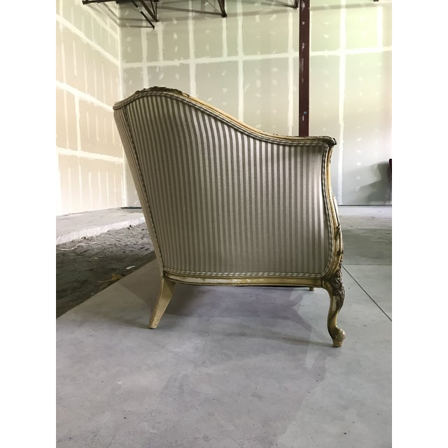 French Country Early 20th Century Vintage Louis XV Style Sofa Cabriole Leg For Sale - Image 3 of 10