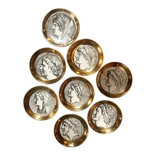 "1970s Mid-Century Modern Piero Fornasetti ""Monete ""Little Plates - Set of 8 For Sale"