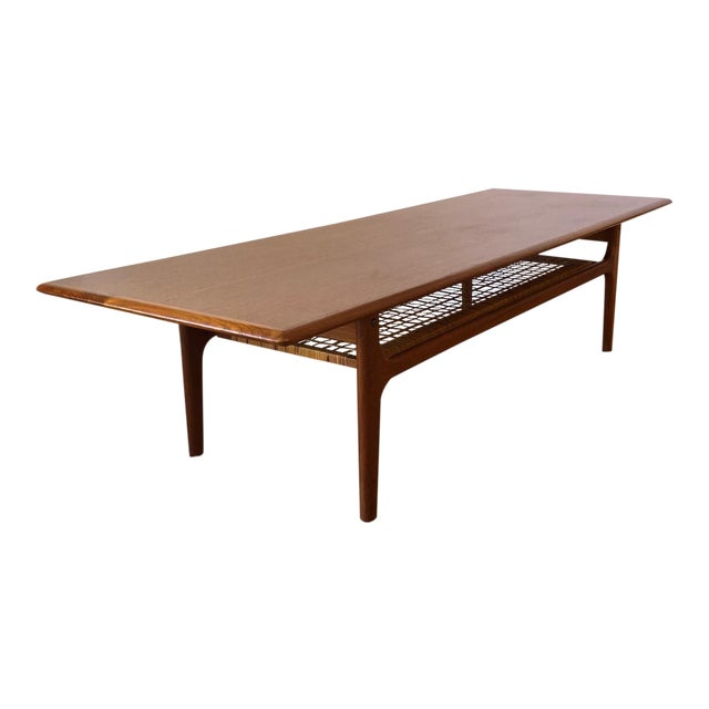 Danish MCM Long Coffee Table With Woven Wicker Shelf by Trioh Mobler For Sale