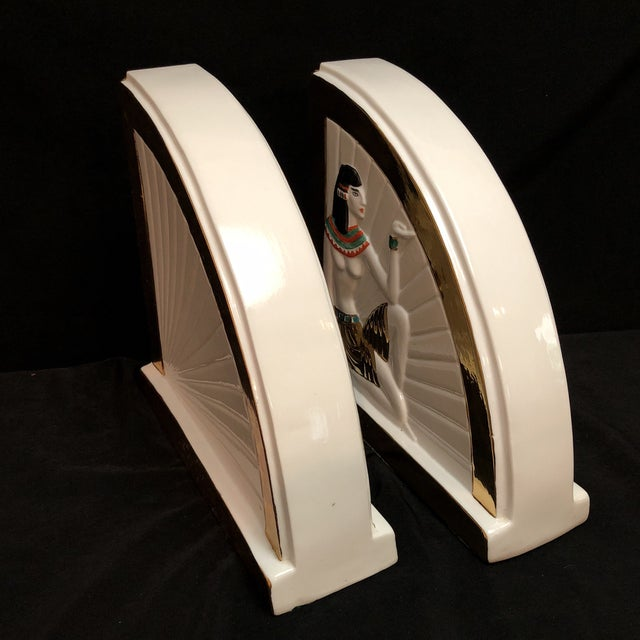 Mid 20th Century Vintage Art Deco Egyptian Revival Bookends For Sale - Image 5 of 10