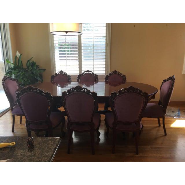 Italian Neoamerican Vintage Solid Mahogany Dining Table Set Chairish