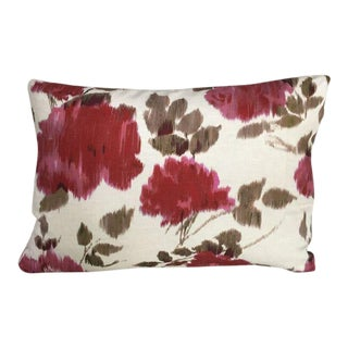 Kim Salmela Red and Beige Floral Pillow For Sale