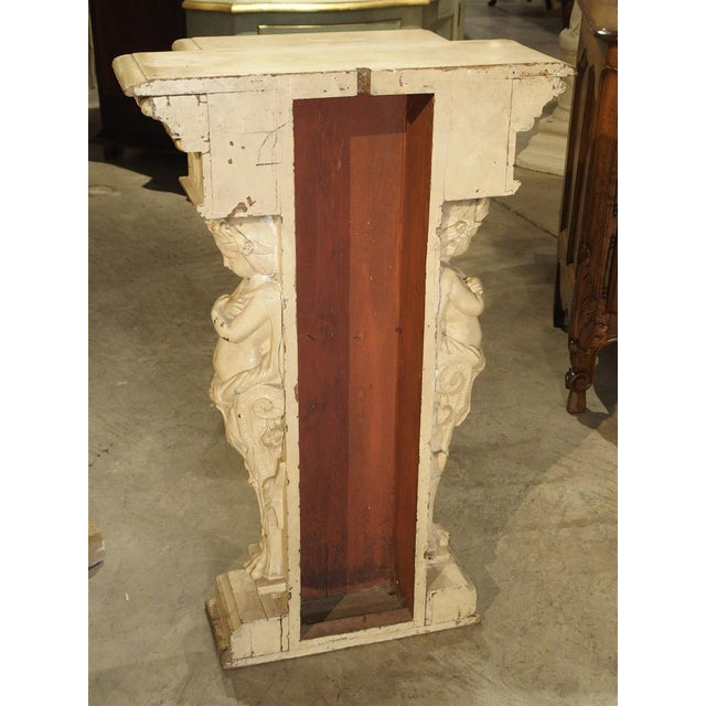 Gold Antique Painted Napoleon III Wall Console Pedestal, Circa 1860 For Sale - Image 8 of 13
