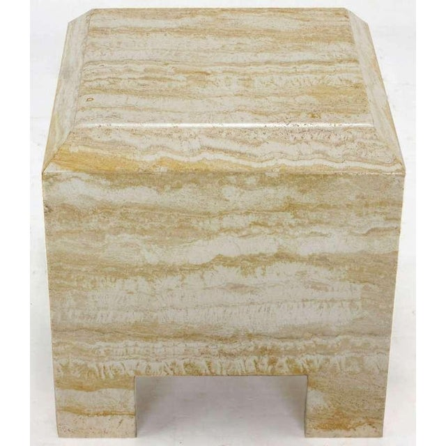 Custom designed heavy all-travertine marble side table with a deep beveled top. Similar in design to work by Milo Baughman...