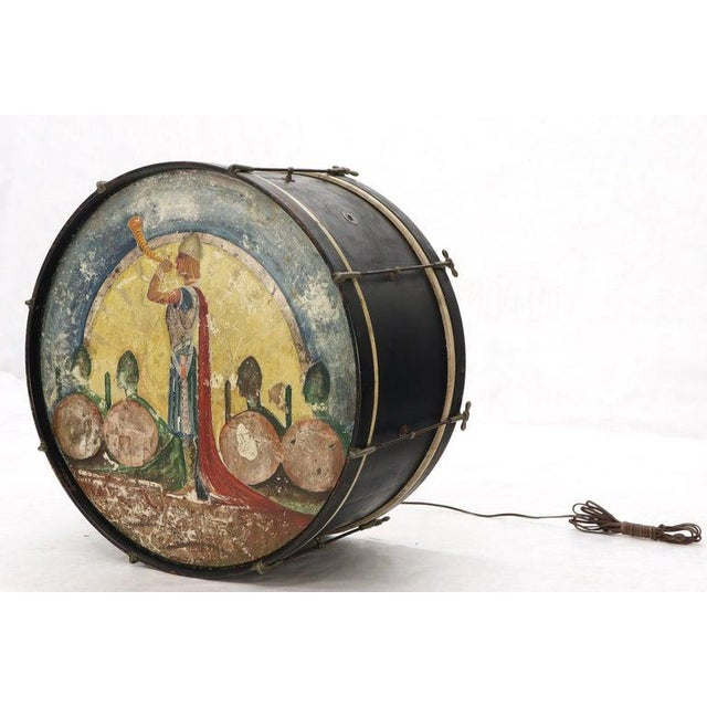 Large Drum Light Fixture Painted and Converted Floor Lamp For Sale - Image 10 of 12
