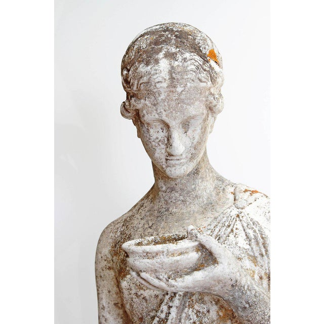 French 19th Century French Hand Carved Stone Female Statue For Sale - Image 3 of 13