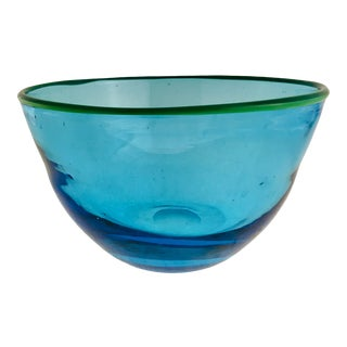 1990s Blue + Chartreuse Blown Art Glass Bowl For Sale