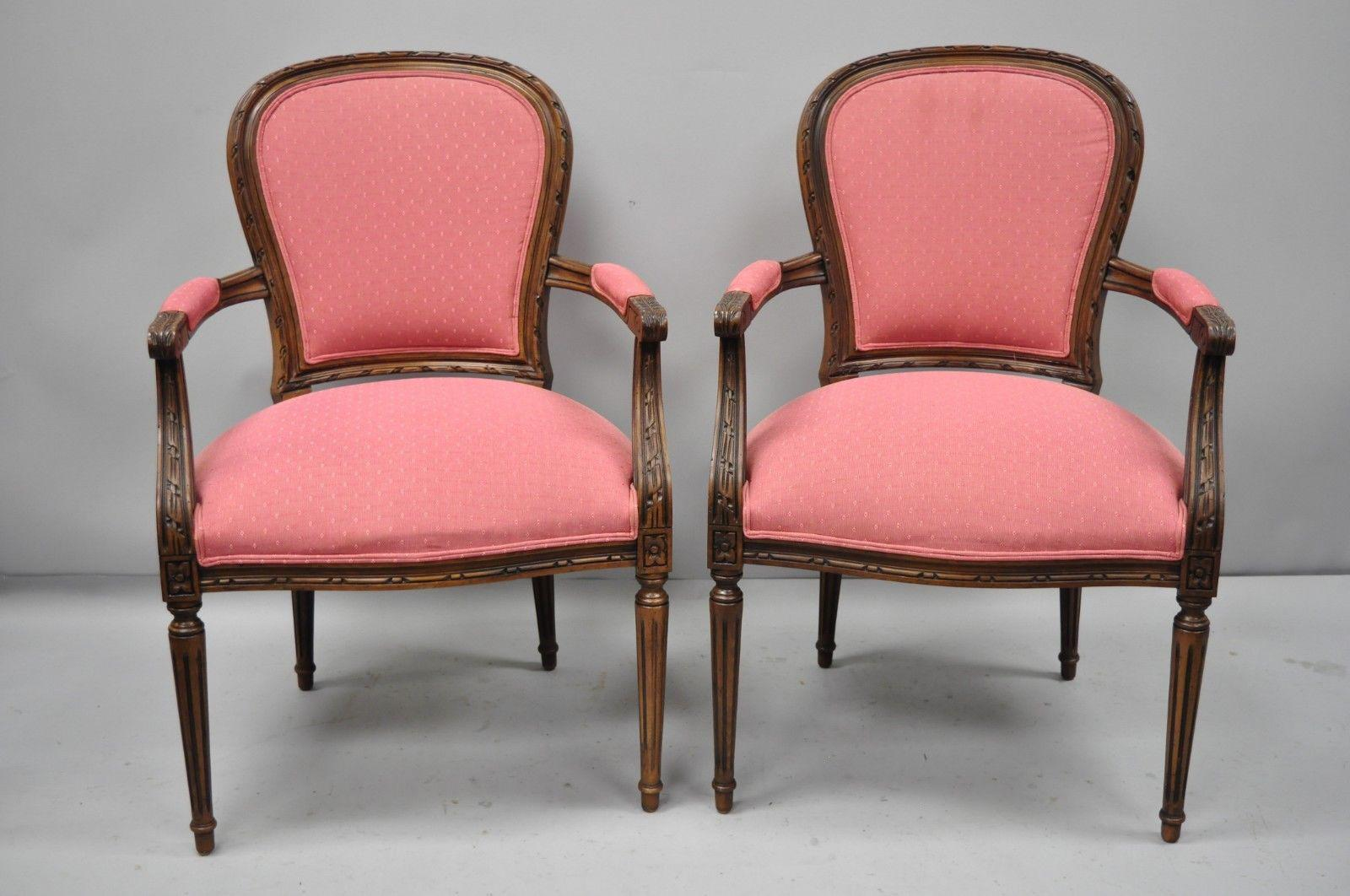 Pair Of Ethan Allen Louis XVI French Style Pink Armchairs . Item Features  Pink Upholstery,