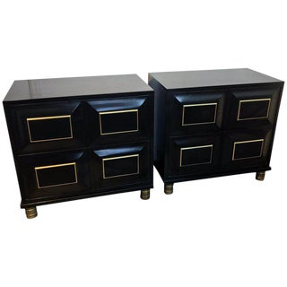 Pair of Mastercraft Black Lacquer and Brass Block Front Cabinets For Sale