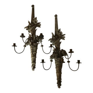 Louis XVI Painted Wood Five Light Sconces - a Pair For Sale
