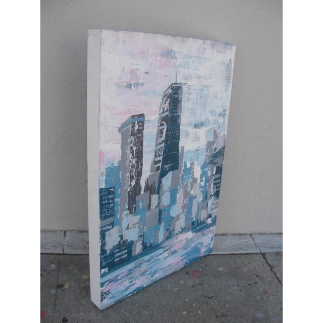 2000s Abstract Hancock Tower Chicago Painting For Sale - Image 4 of 6