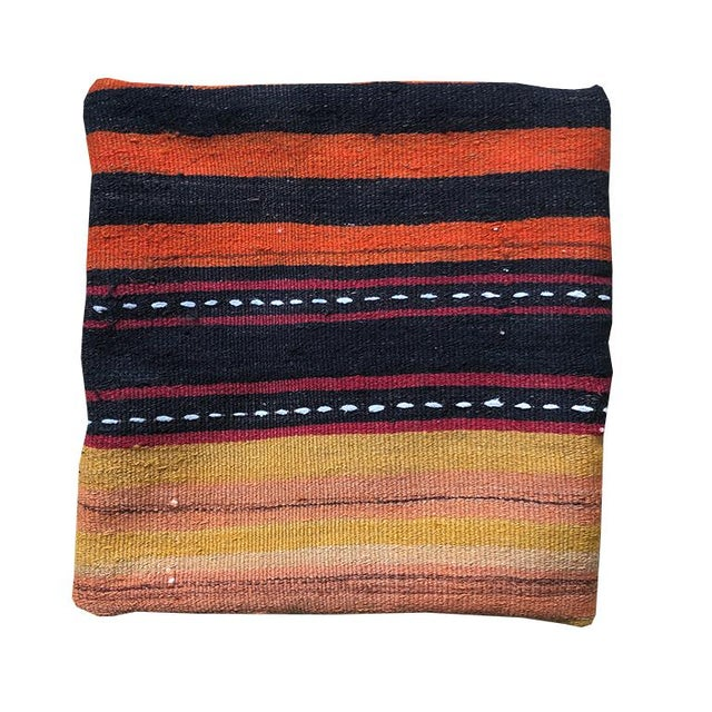 Square Striped Black Orange Yellow White Turkish Rug Pillow With Zipper Back With Blue and Down Insert For Sale - Image 6 of 7