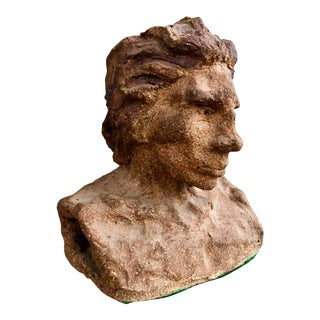 1970s Vintage Wavy-Haired Man Clay Bust Sculpture For Sale