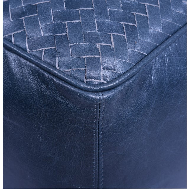 32 inch low square leather upholstered woven floor cushion in dark blue finish.32 inch square and 14 inch high, filled...