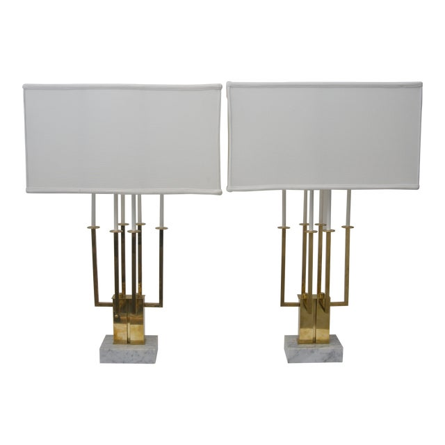 Lovely Pair Of Large Scale Stiffel Brass And Marble Table Lamps Decaso