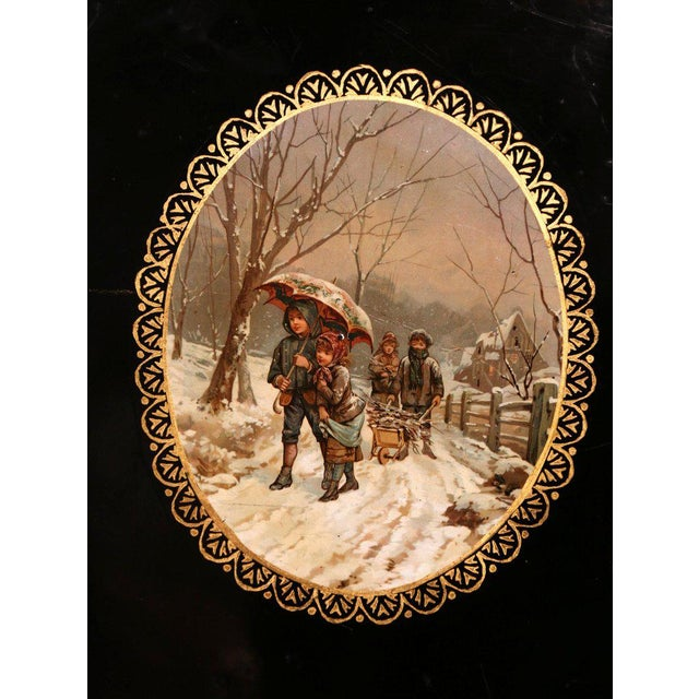 French 19th Century French Napoleon III Black and Gilt Oval Tole Tray With Winter Scene For Sale - Image 3 of 7