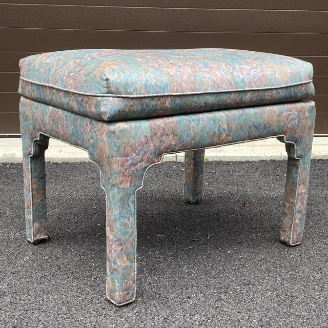 1980s Fully Upholstered Floral Bench For Sale - Image 11 of 13