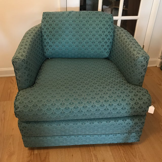Teal Barrel Back Club Chair For Sale In Raleigh - Image 6 of 6
