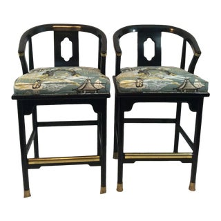 Mid Century Ming Style Bar Stools - a Pair For Sale
