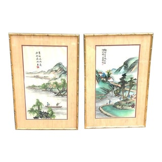 1950s-60s Painted Embroidered Asian Silkscreen Panels in Gold Bamboo Frames - a Pair For Sale