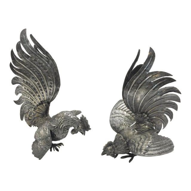 Decorative Silver Roosters - a Pair For Sale