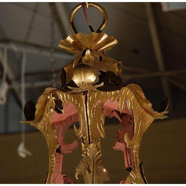 Venetian Style Tole Lantern Larger Pendant For Sale - Image 4 of 7