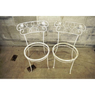 Set of 4 Vintage Wrought Iron Garden Patio Dining Chairs Woodard Chantilly Rose Preview