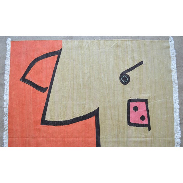 Paul Klee - Silence of the Angel - Inspired Silk Hand Woven Area - Wall Rug 4′7″ × 5′7″ For Sale - Image 6 of 11