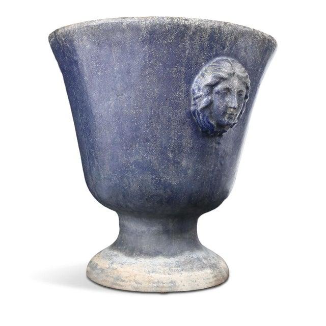 French Large Blue Enameled Rouen Urn For Sale - Image 3 of 9