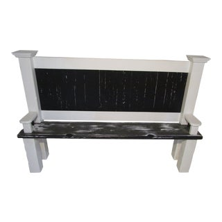 Distressed White & Black Hall Bench