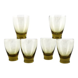 Russel Wright Chartreuse Morgantown American Modern Juice Glasses Set Six For Sale