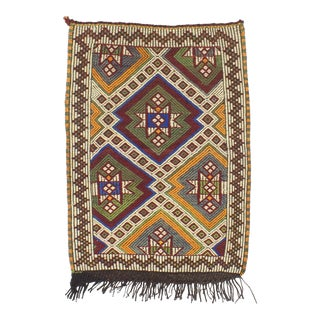 1960s Turkish Embroidered Small Kilim Rug For Sale