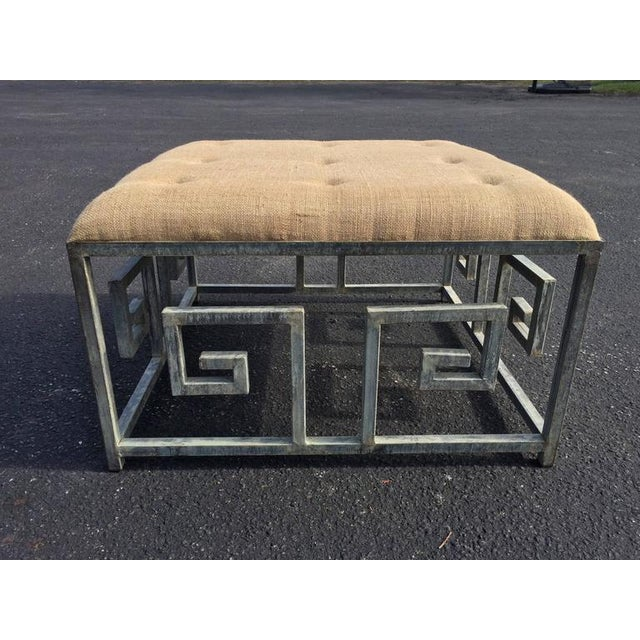 1920s Greek Key Iron and Burlap Upholstery Ottoman/Coffee Table For Sale - Image 5 of 11