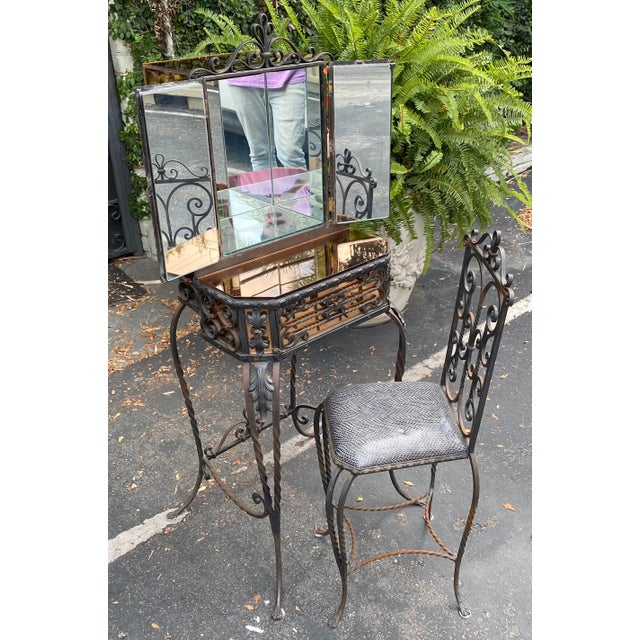 "Antique Art Deco Spanish Wrought Iron Champagne Mirrored Vanity & Chair Knee Clearance: 23.75"" Chair: 16""W x 16""D x 29""H..."