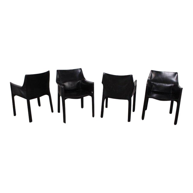 Set of Four Cab Armchairs by Mario Bellini for Cassina For Sale