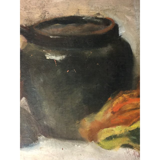 1960s Vintage Still Life Oil on Board Painting Signed by Artist For Sale - Image 5 of 11