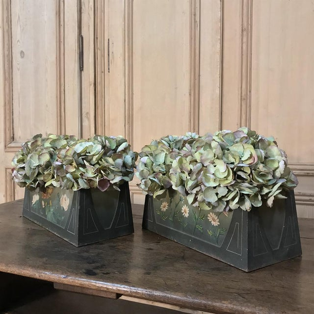1920s Pair French Art Deco Painted Jardinieres / Planter Boxes For Sale - Image 5 of 13