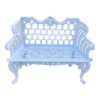 Late 19th Century Antique Outdoor White Cast Iron Metal Bench For Sale
