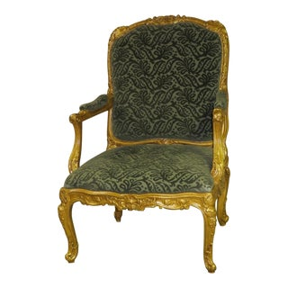 Vintage French Renaissance Style Carved Gold Chair For Sale