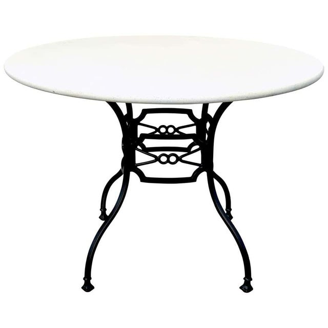 Black Neoclassical Horse-Bit & Travertine Garden/Patio Table Provenance Celine Dion For Sale - Image 8 of 8