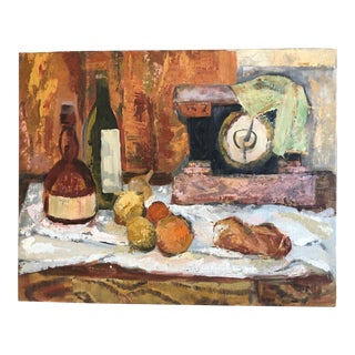 1960s Traditional Still Life Painting With Wine and Citrus on Board For Sale