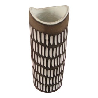 Ingrid Atterberg for Upsala Ekeby Vase With Glazed Incisions For Sale