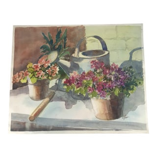 Original Unframed Watercolor Potting Table Still Life Painting For Sale