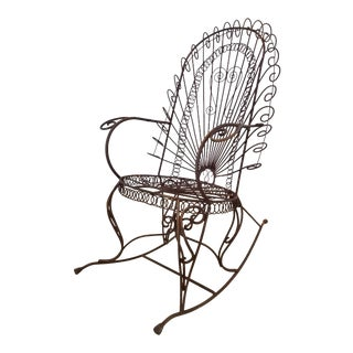 1970s Wrought Iron Peacock Rocking Chair For Sale