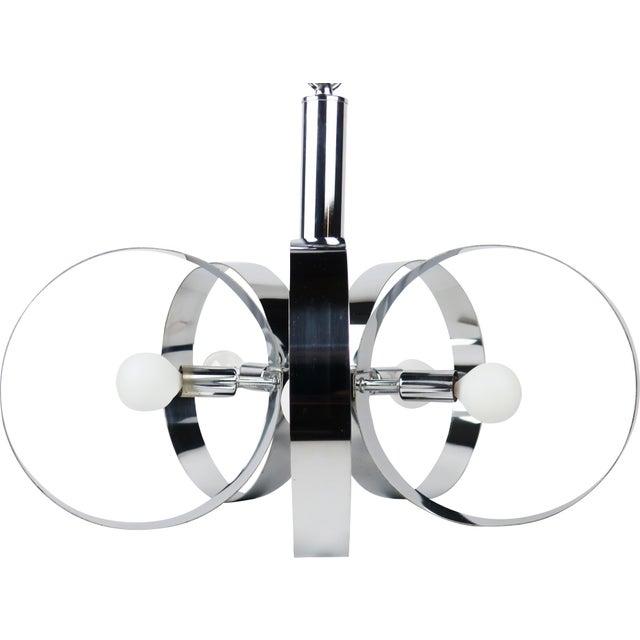 Mid-Century Modern 1960s Mid-Century Modern Chrome Hoop Pendant Lamp For Sale - Image 3 of 11