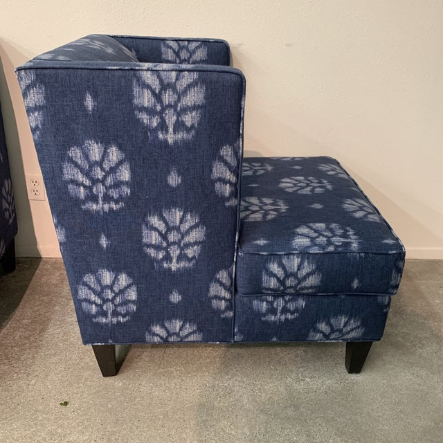 Blue and White Contemporary Wing Chairs For Sale In Los Angeles - Image 6 of 8