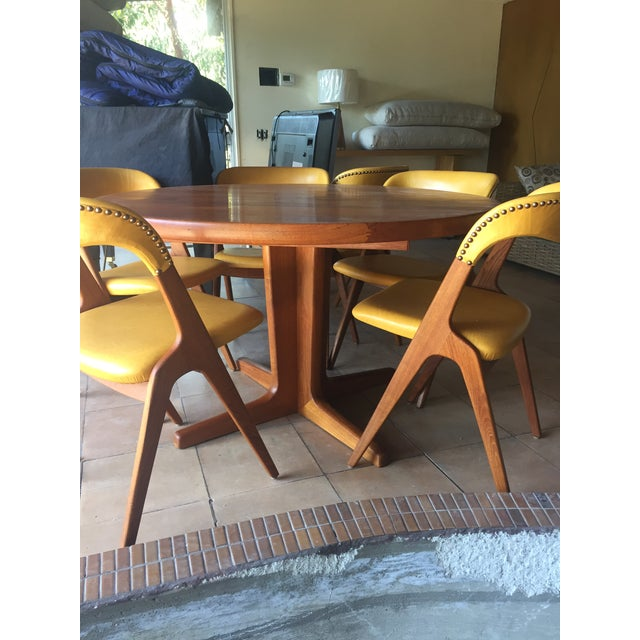 Animal Skin Mid-Century Modern Teak Dining Table/Chairs Set For Sale - Image 7 of 11