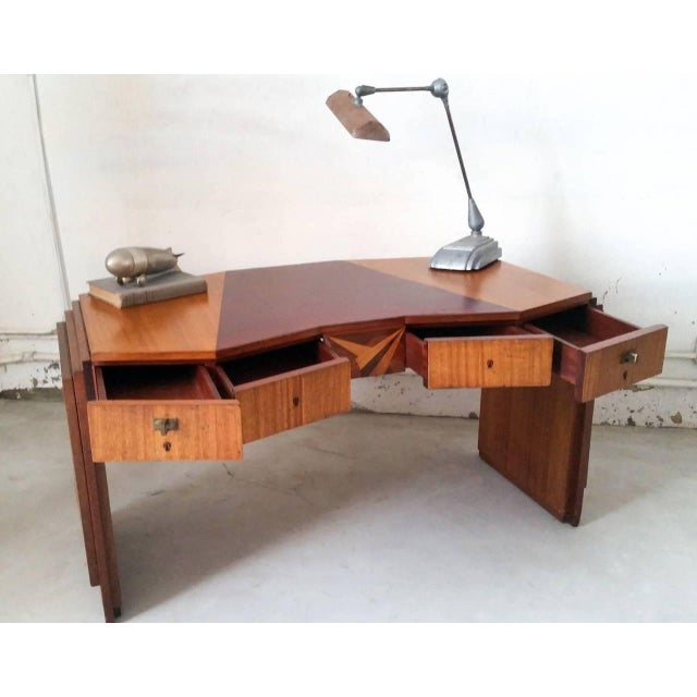Animal Skin 1920s Saddier French Art Deco Gull Wing Desk For Sale - Image 7 of 11