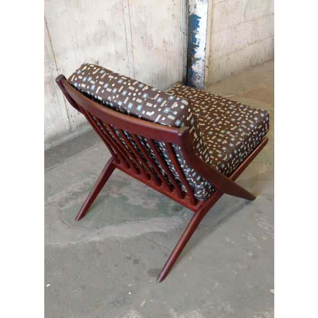 Teak Scissor Chair With Space Age Fabric by Folke Ohlsson for DUX For Sale - Image 10 of 11
