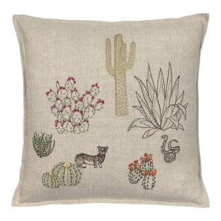 Southwestern Saguaro Desert Field Pillow For Sale